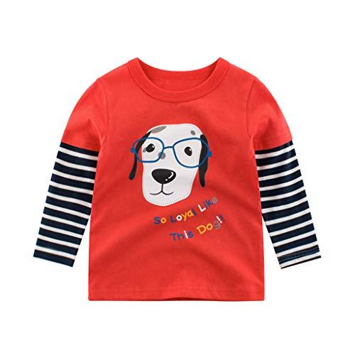 Baby Kinder Jungen Gestreiften Pullover Langarm Baumwolle Cartoon Tier T-Shirt Brief Drucken Langarmshirt Boy Junge Hund Tiger Elefant Tops Shirt Hemden