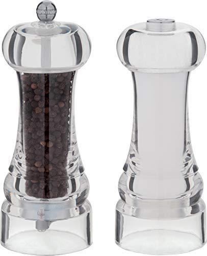 Maison Plastic Pepper Mill and Salt Shaker Set 2-Pieces Clear