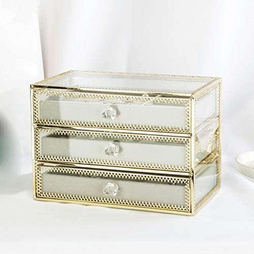 WXFF Caja de Joyería Organizador de la joyería Caja 3 cajones de Terciopelo joyería Cajas de Cristal Pulsera del Collar del Pendiente del Anillo del sostenedor del Caso del Regalo Caja Joyero