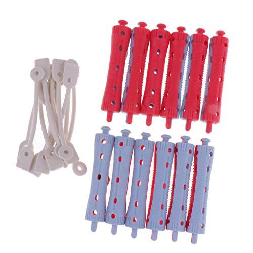 Sharplace 12x Bigoudis Flexibles en Plastique, Paquet de 6 rouleaux Magic Curler Rod Flex Curler Rod - 7 x 1,5 cm