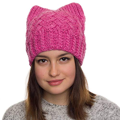 Pink Pussy Cat Hat-Handmade Beanie Hat-Winter Hat for Women- Cat Ears Hat for Girls