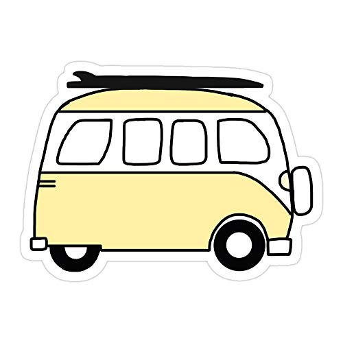 VMSTYLES (3 PCs/Pack) Yellow Van with Surfboard Die-Cut Stickers Decals for Laptop Window Car Bumper Helmet Water Bottle