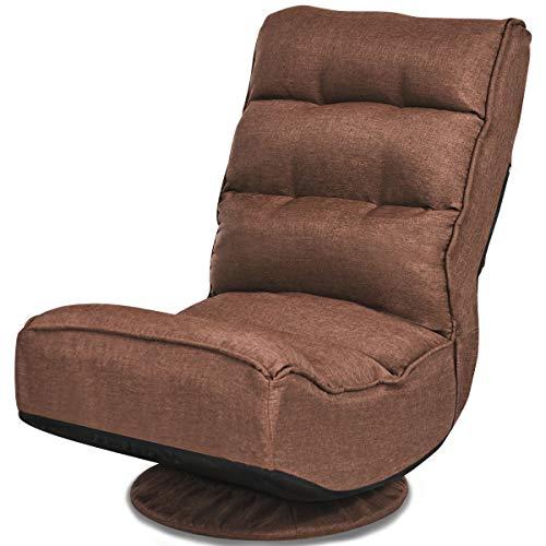 Giantex Bodenstuhl 360° drehbar, Bodensessel gepolstert klappbar, Bodensofa mit 5-stufig Verstellbarer Rückenlehne, Faules Sofa Meditationsstuhl bis zu 150kg belastbar (kaffeebraun)