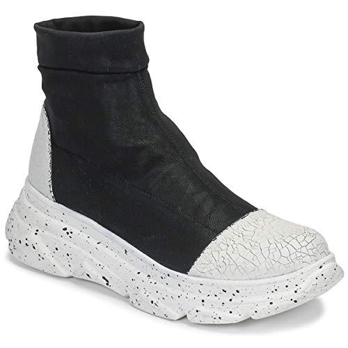 Papucei Leonora Stiefeletten Damen Schwarz Weiß Mid Boots Schuhe, - schwarz / weiß - Größe: 37 EU