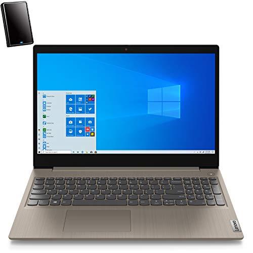 """Lenovo Ideapad 3 15 15.6"""" FHD Business Laptop Computer, AMD Ryzen 5 3500U Quad-Core (Beat I7-7500U), 8GB DDR4 RAM, 256GB PCIe SSD, AC WiFi, Almond, Windows 10 Pro, iPuzzle 500GB External Hard Drive"""