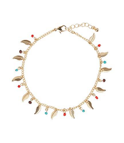 SIX Fußkette mit Feder-Design und bunten Perlen (775-423)