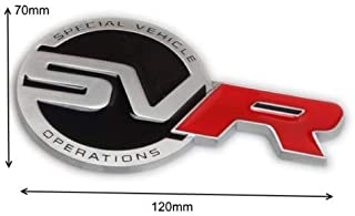 Black, Red & Silver SVR Special Vehicle Operations Rear Boot Lid Badge Emblem For Evoque, Discovery, Freelander, SVR, HSE, Sport Models Size 120mm x 70mm
