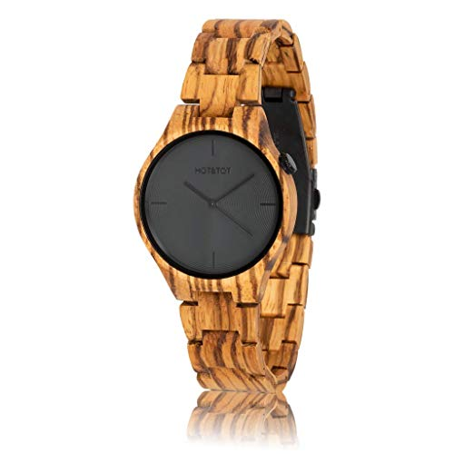 HOT&TOT Yuca | Zebra Wood Watch | 40mm | Gray, Black, Brown | Mens Womens Wooden Watch Analog Quartz Lightweight Handmade Wood Wrist Watch