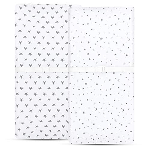 Ely amp Co Waterproof Changing Pad Cover | Cradle Sheet 2Pack Set for Baby Boy or Baby Girl  100% Jersey Knit Cotton Sheets with Waterproof Lining  Grey Stars