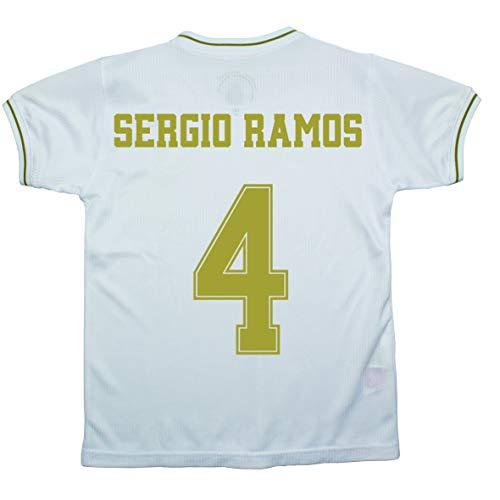 Champion's City - Ensemble maillot et pantalon pour enfant - Premier équipement – Real Madrid – Réplique autorisée – Joueurs, Fille, 4 - Sergio Ramos, 8 ans
