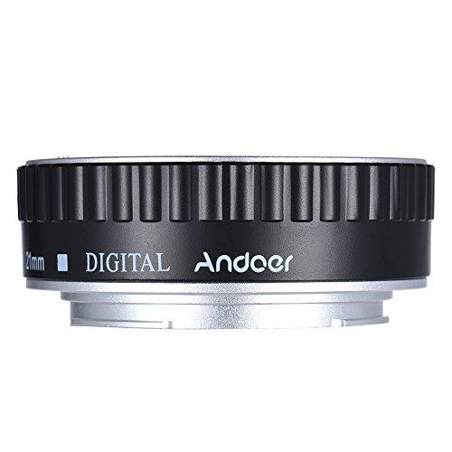 Andoer Tubo di prolunga automatico per Canon EOS EF/AF - Set di tre tubi di prolunga Auto Focus: 13 mm, 21 mm, 31 mm, compatibili con Canon EF/EF-S (argento)