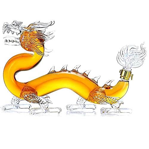XDLH 1000Ml-Barware Dragon Formado Whiskey Decanter, Amarilla De Vino con Tapa De Florero, Vidrio Soplado A Mano, Acceso De Vino De Lujo, Dragón