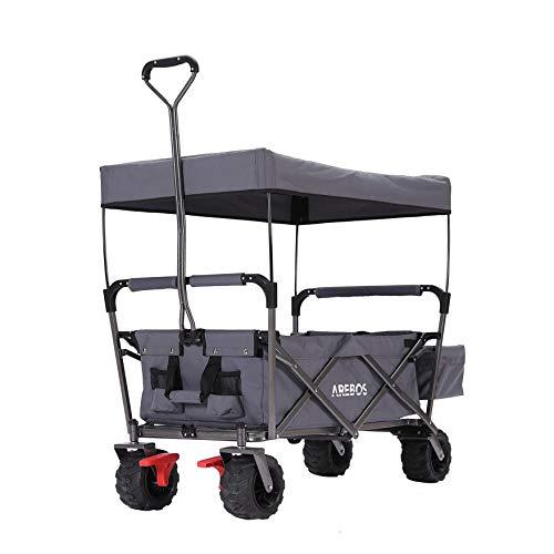 Arebos Bollerwagen Faltbar mit Dach | Handwagen | Klappbar | Gerätewagen | Grau