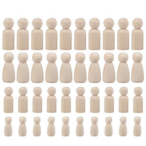 BUYGOO 50 st trädockor oavslutade kvinnor män trädockor för hantverk gör-det-själv, 65, 53, 43, 35 mm trä små dockor kroppsängel dockor träplugg människor för barn konst och kreativitet (med en låda)