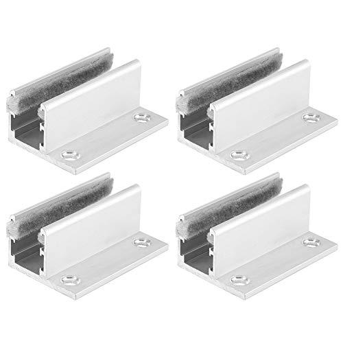 4 piezas de herrajes para puertas correderas de aleación de aluminio, guía de rodillo para suelo, posicionador de tope oscilante para puerta de inducción automática