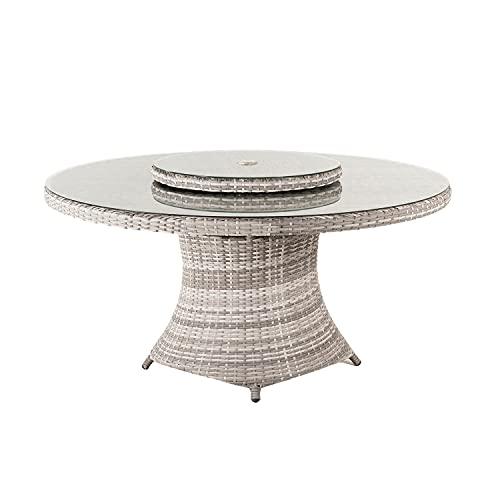 Edenjardi Mesa de terraza Redonda, Tamaño: 150x75 cm, Aluminio y ratán sintético Plano Color Gris, Cristal Templado de 5 mm