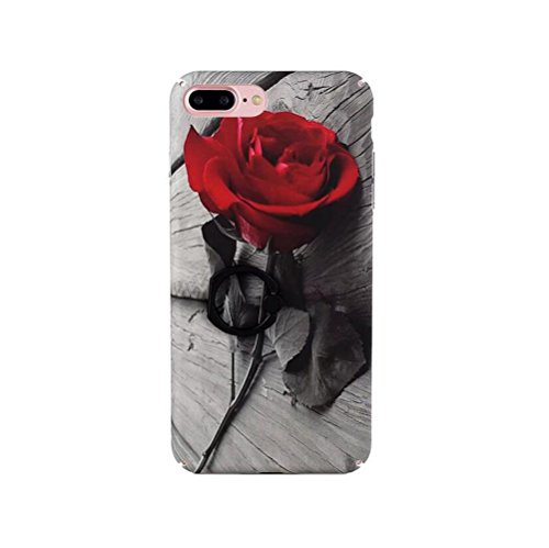 iPhone 6 plus/6s Plus Marble Case,Jesiya Creative Design Beautiful Red Rose Flower Pattern Wth 360 Degree Roating Ring Stand Case Ultra Thin Cover for iPhone 6 plus/6s Plus 5.5'
