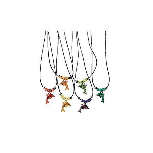 Fun Express - Acrylic Dolphin Necklace W/ Jewel Eye - Jewelry - Necklaces - Necklaces - Novelty - 12 Pieces