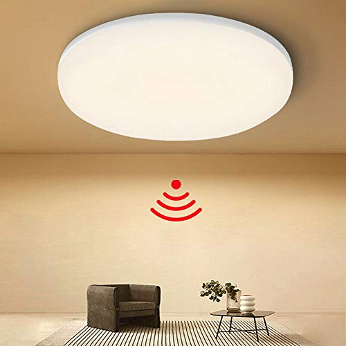 LED Deckenlampe mit Bewegungsmelder 18W, Tonffi 3000K Warmweiß IP44 Wasserdicht LED Deckenleuchte mit Bewegungssensor Sensor Lampe für Flur, Treppe, Veranda, Garage, Korridor, Balkon, Keller