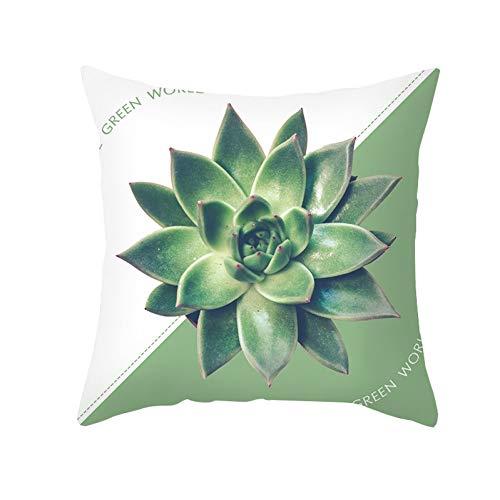 Jiaquhome Funda de Almohada geométrica Verde Menta Moderna Hipster Plantas Hoja Cojines con Estampado de Jirafa Funda sofá Cojines 2 Piezas