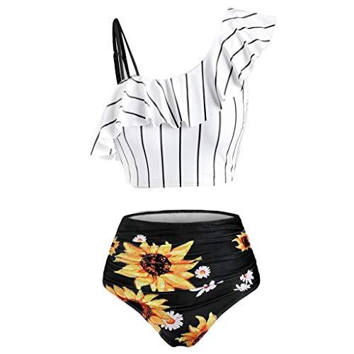 FANGDREAM Sexy Plaid Bikinis Feminino Bowknot Frente Traje De Baño De Cintura Alta Trajes De Baño Ropa De Playa Bikini Femenino # T2 XXL D