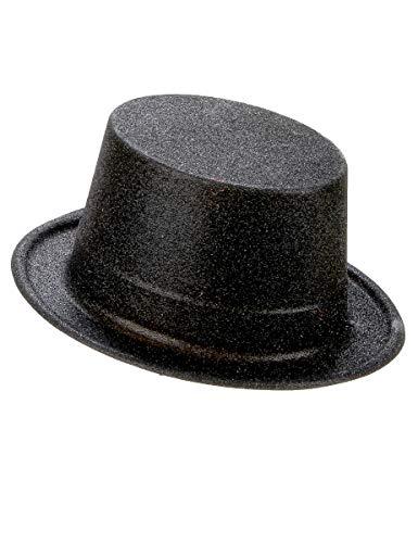 DEGUISE TOI - Chapeau Haut de Forme Plastique pailleté Noir Adulte - Taille Unique