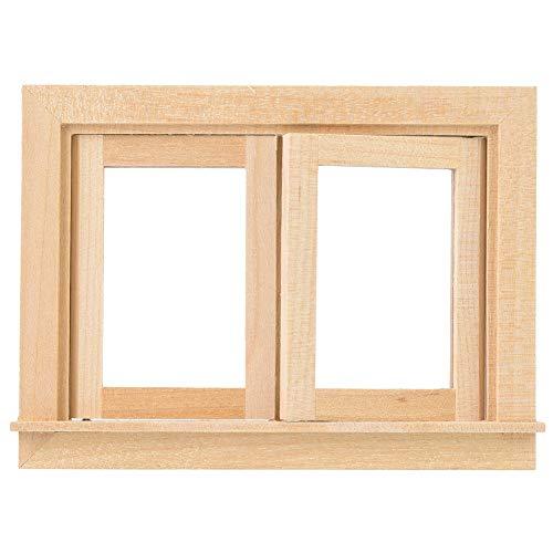 1:12 Puppenhaus Möbel Set Kleinkinder Mini Holz Doppel Fenster DIY Raumdekoration hoch Simulation Lebensechte Puppenhaus Ornament pädagogisches Spielzeug Geburtstagsgeschenk für Jungen Mädchen