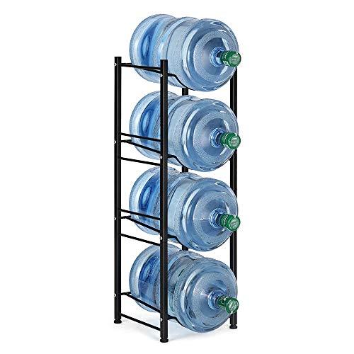 4-Tier Water Bottle Holder Cooler Jug Rack Organizer 5 Gallon Water Bottle Stackable Storage Shelves Detachable Water Dispenser Stainless Steel Rack Easy Assemble for Kitchen Drawing Room Black