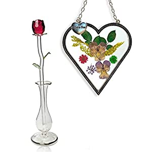 BANBERRY DESIGNS I Love You Heart and Red Crystal Rose – Glass Rose in a Vase with Pressed Flower Heart Shaped Sun Catcher – Valentine's Day
