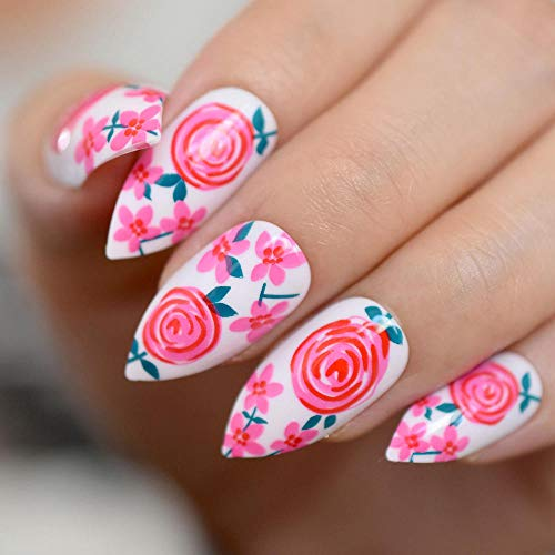 DCJ® Falsche Nägel gefälschte Nägel Blumengartenmuster nach gefälschten Nagelspitzen täglich Büro Nagelgel tragen