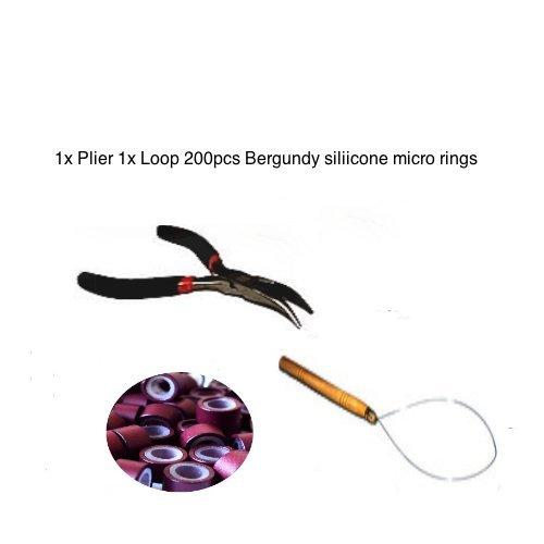 Kit plume Extension de cheveux Anneaux Bergundy. 200