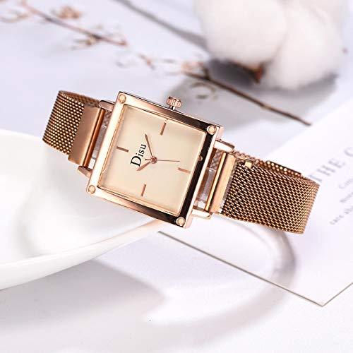 yuge Reloj cuadrado de lujo señoras hebilla magnética malla señoras reloj señoras simple reloj de cuarzo casual rosa oro