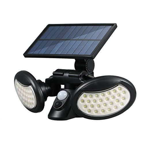 VISLONE Luz Solar Exterior con Sensor de Movimiento, Luces LED Solares Exteriores 2 Cabezales 3 Modos, 360º lluminación Foco Solar Exterior Impermeable Aplique de Pared para Camino Patio Garaj
