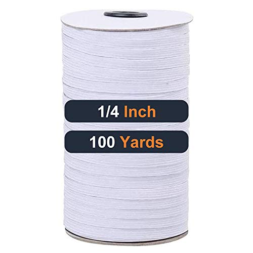 Flat Elastic Bands for Sewing-100 Yards 1/4 Inch Round Elastic Cord,Stretchy Braided Elastic String for Masks Craft DIY Mask(White)