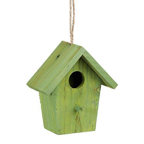 Relaxdays Deko Vogelhaus bunt, aus Holz, Kleines Vogelhäuschen, Frühlingsdeko zum Aufhängen, HBT: ca. 16 x 15 x 8 cm, grün