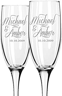 Personalized Wedding Champagne Flutes -Set of 2 glasses for toasting/bride and groom gifts -Wedding Registry By Brides Nam...