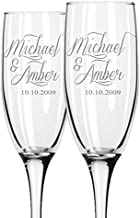 Personalized Wedding Champagne Flutes -Set of 2, for Toasting - Laser Engraved - Choose your design