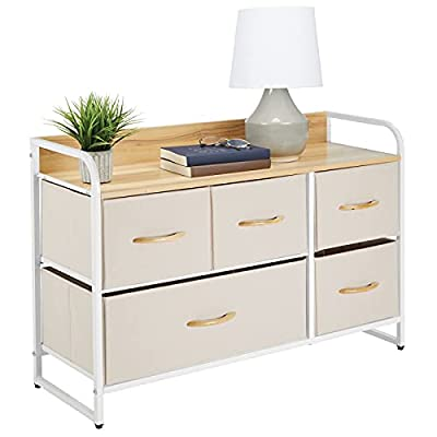 mDesign Wide Dresser Storage Chest, Sturdy Steel Frame, Wood Top & Handles, Easy Pull Fabric Bins - Organizer Unit for Bedroom, Hallway, Entryway, Closet - Textured Print, 5 Drawers - Cream/White