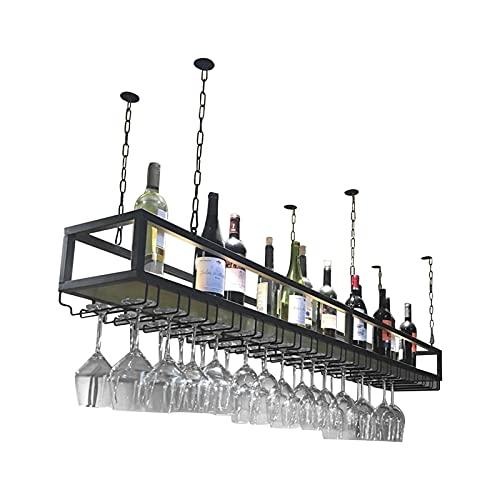 Estanterías Estante Flotante De Barra Industrial Vintage, Barra De Techo De Metal Ajustable, Estante para Copas De Vino, Estante para Colgar Debajo del Estante, para Bares/Restaurantes/Cocinas