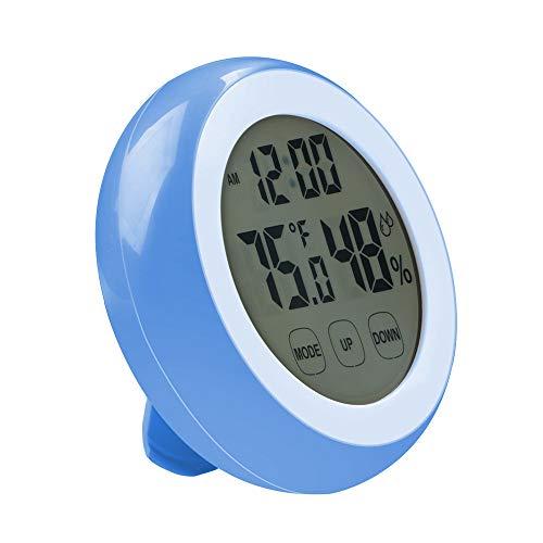Mengshen デジタル時計 温湿度計 LCD大画面 時間 月日 曜日 最高最低温湿度 温度傾向図表示 アラームタイム センサー バックライト機能あり 円形 AC08Blue