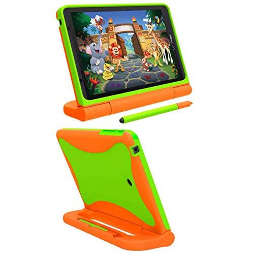 "Case with Stylus for Ellipsis Kids Tablet - Slim Shock Proof Handle Friendly Case for Ellipsis Kids Tablet 8"" with Smart Kickstand - Orange/Green"