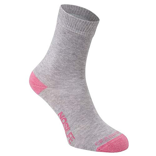 Craghoppers Damen Socken NosiLife, 2er-Pack (36-38 EU) (Hellgrau meliert/Rosa Streifen)