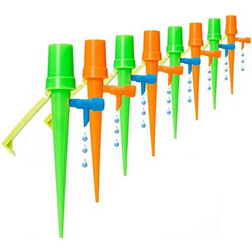 WD&CD 【Actualizar】【8 Pack】Dispositivo de Riego por Goteo Automático Sistema de Riego Goteo Lento con Válvula de Riego de Goteo para Bonsáis y Flores,Ideal Dispositivo de Irrigación Automático en Vacaciones