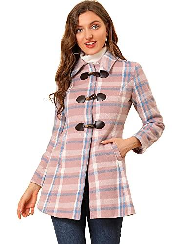 cappotto donna scozzese Allegra K Capispalla da donna Toggle Cappotto classico da marinaio con colletto rovesciato scozzese sul davanti Rosa Blu XS
