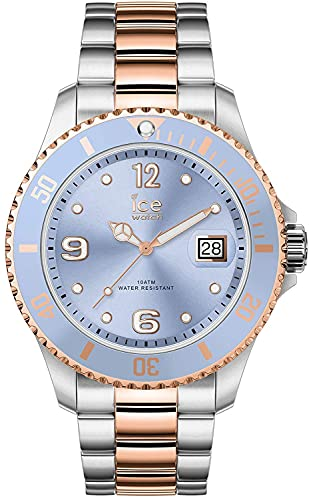 ICE-WATCH - ICE steel Sky silver rose-gold - Silbergraue Damenuhr mit Metallarmband - 016770 (Medium)