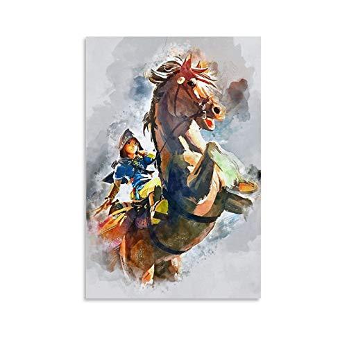 Zelda Breath of The Wild Jigsaw   Póster de lienzo y arte para pared, diseño moderno de puzzle, 30 x 45 cm