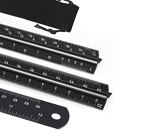 12 Inch Architectural Scale Ruler Set,YXQUA Laser-Etched Aluminum Architectural and Engineering Triangular Scale Ruler with Stainless Steel Ruler,for Architects,Students,Draftsman,Engineers (3 Pack)