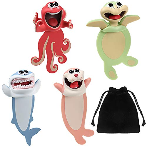 4 Pieces Ouch Bookmarks for Kids 3D Wacky Bookmark Animal Cartoon Ocean Series Funny Bookmarks Stationery Christmas Birthday Party Favors for Kids Student Teens Boys Girls Help with Reading