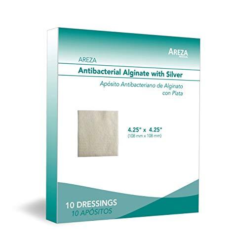 "Silver Alginate (Antibacterial Alginate with Silver) 4.25""x4.25"" Sterile; 10 Wound Dressings Per Box (1 Box) Areza Medical"