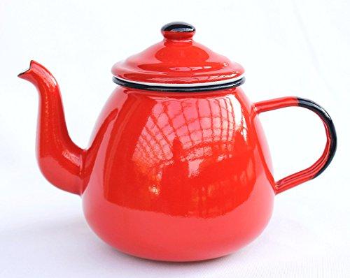 DanDiBo Teekanne 582AB Rot 0,75 L emailliert 14 cm Wasserkanne Kanne Kaffeekanne Emaille Nostalgie